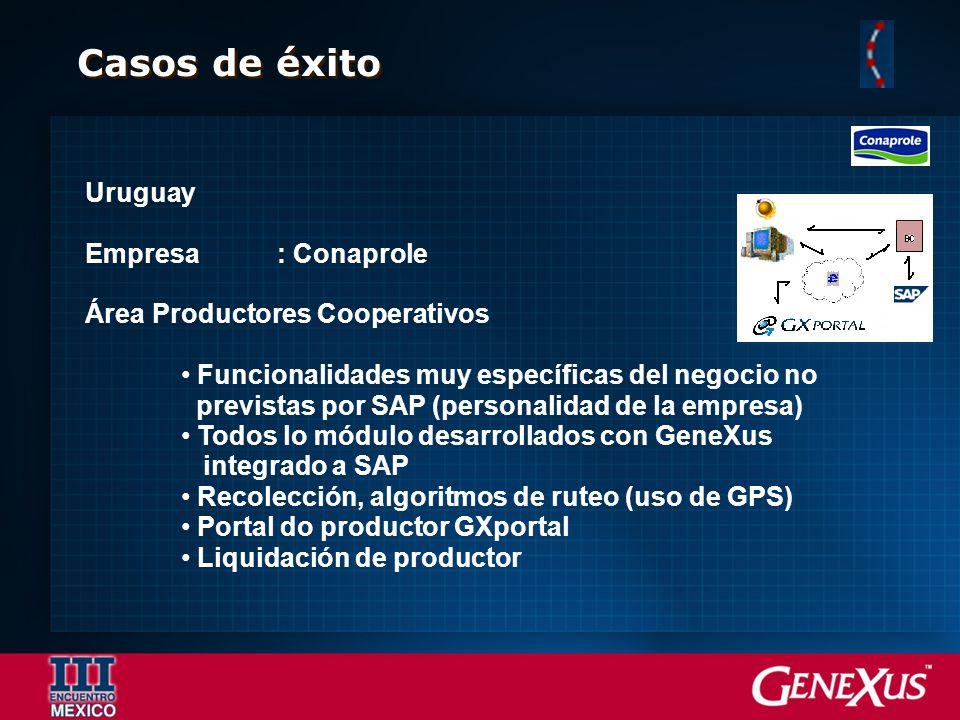 Casos de éxito Uruguay Empresa: Conaprole Área Productores Cooperativos Funcionalidades muy específicas del negocio no previstas por SAP (personalidad
