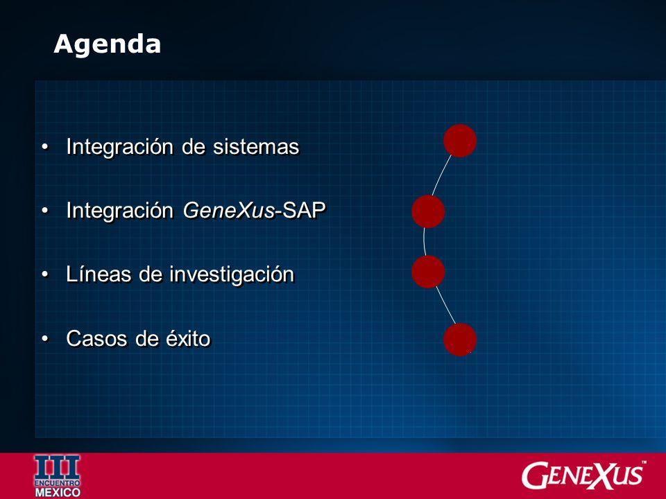 Agenda Integración de sistemas Integración GeneXus-SAP Líneas de investigación Casos de éxito Integración de sistemas Integración GeneXus-SAP Líneas d