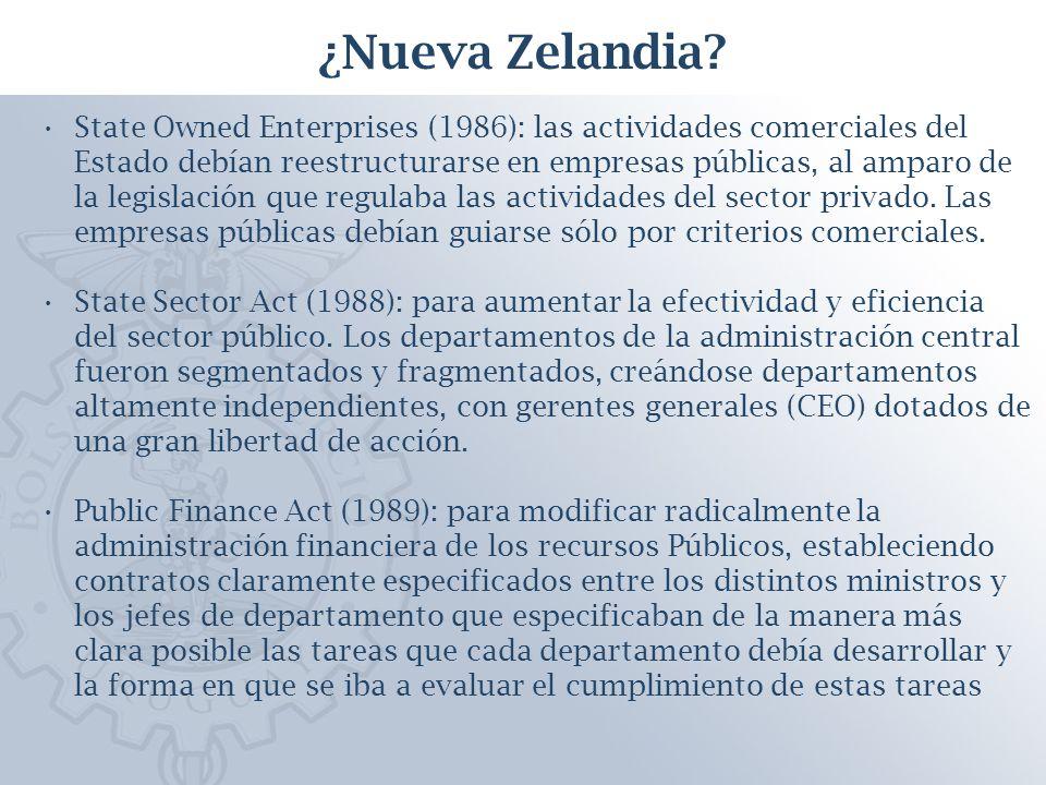 State Owned Enterprises (1986): las actividades comerciales del Estado debían reestructurarse en empresas públicas, al amparo de la legislación que regulaba las actividades del sector privado.
