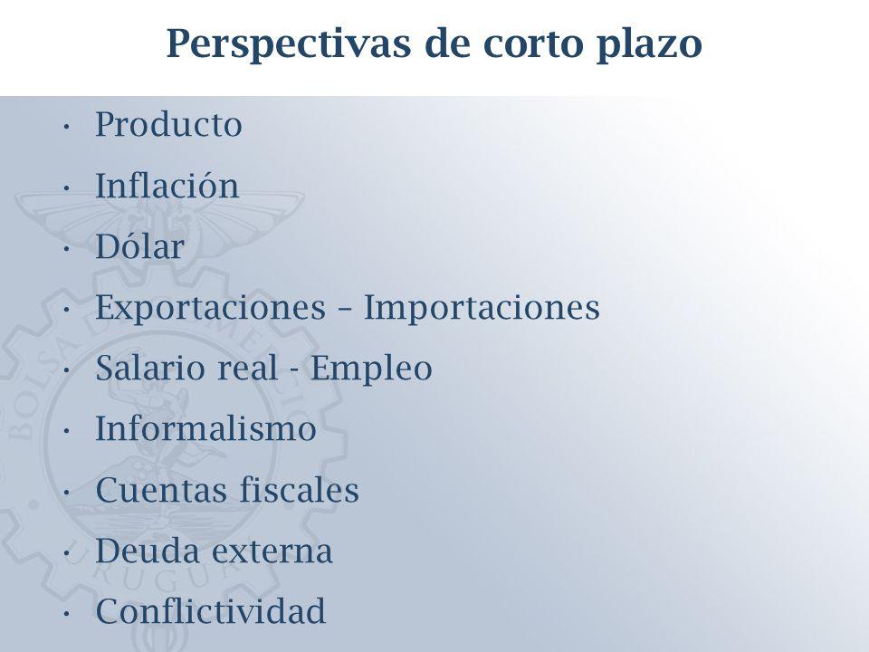 Producto Inflación Dólar Exportaciones – Importaciones Salario real - Empleo Informalismo Cuentas fiscales Deuda externa Conflictividad Perspectivas de corto plazo