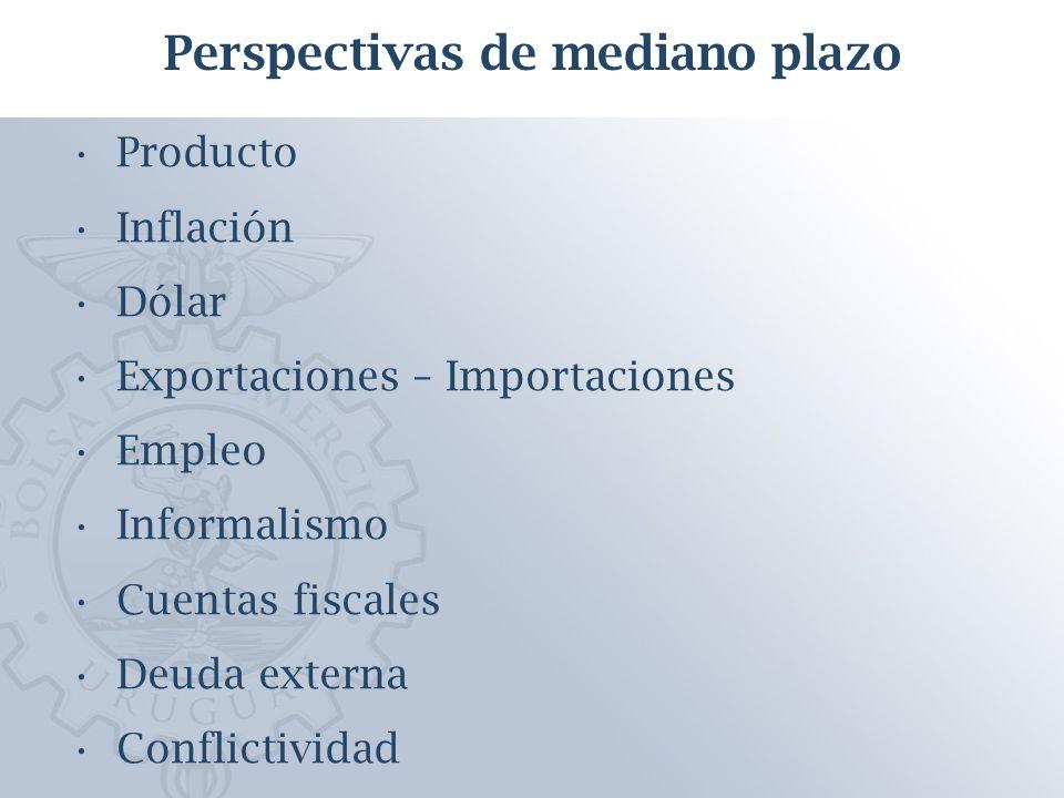 Producto Inflación Dólar Exportaciones – Importaciones Empleo Informalismo Cuentas fiscales Deuda externa Conflictividad Perspectivas de mediano plazo
