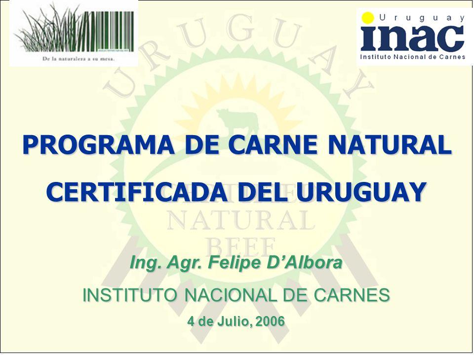 Ing. Agr. Felipe DAlbora INSTITUTO NACIONAL DE CARNES 4 de Julio, 2006 PROGRAMA DE CARNE NATURAL CERTIFICADA DEL URUGUAY