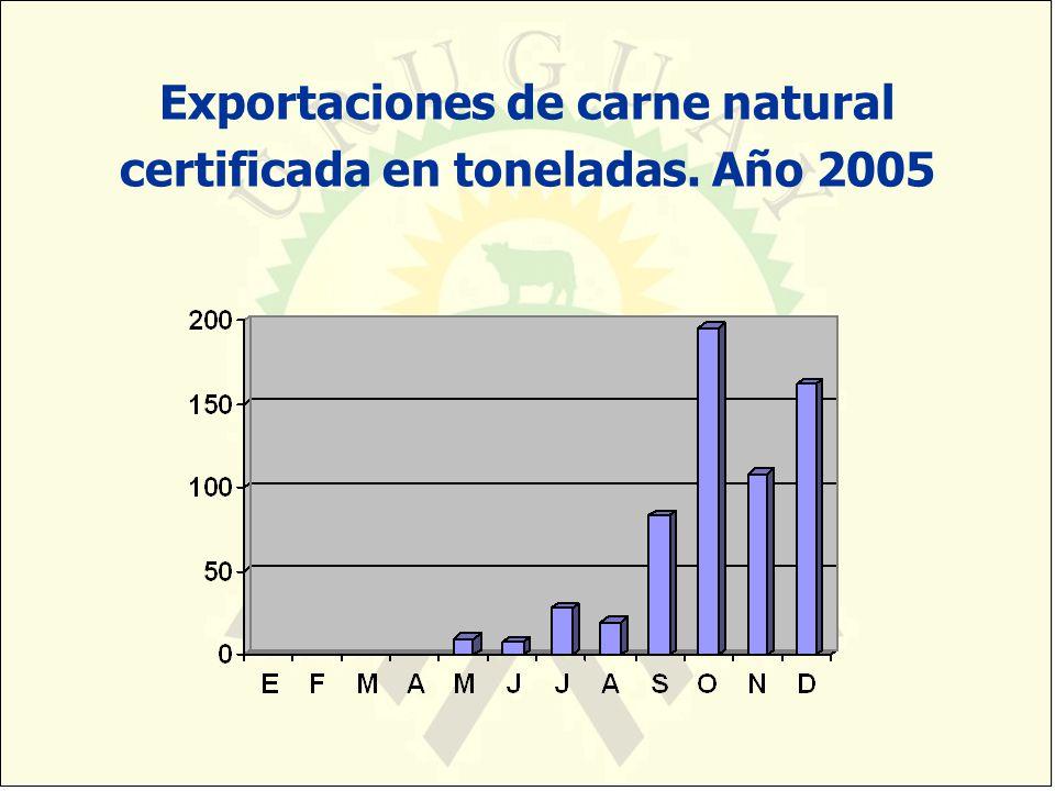 Exportaciones de carne natural certificada en toneladas. Año 2005