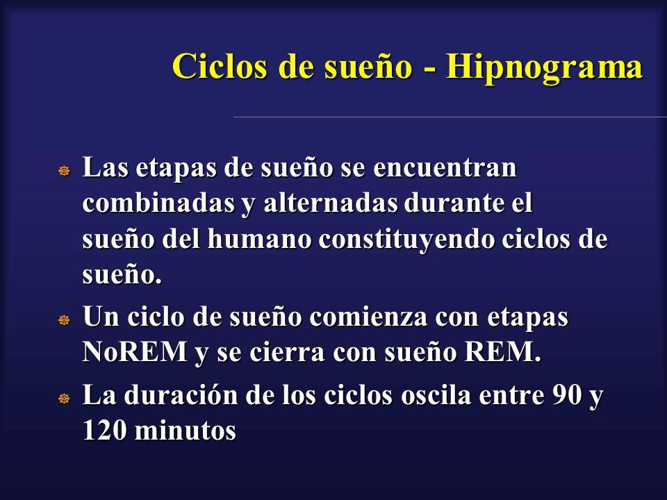 Ciclos de sueño - Hipnograma Las etapas de sueño se encuentran combinadas y alternadas durante el sueño del humano constituyendo ciclos de sueño. Las