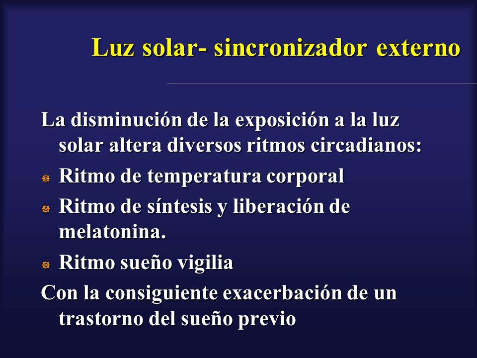 Luz solar- sincronizador externo La disminución de la exposición a la luz solar altera diversos ritmos circadianos: Ritmo de temperatura corporal Ritm