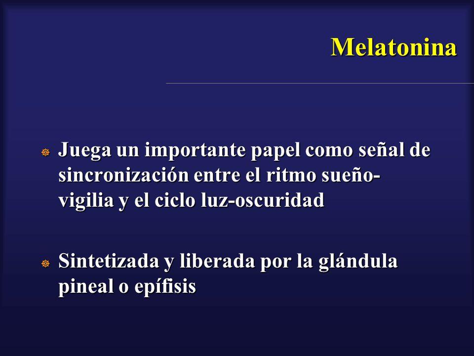 Melatonina Juega un importante papel como señal de sincronización entre el ritmo sueño- vigilia y el ciclo luz-oscuridad Juega un importante papel com