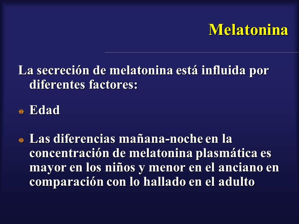 Melatonina La secreción de melatonina está influida por diferentes factores: Edad Edad Las diferencias mañana-noche en la concentración de melatonina