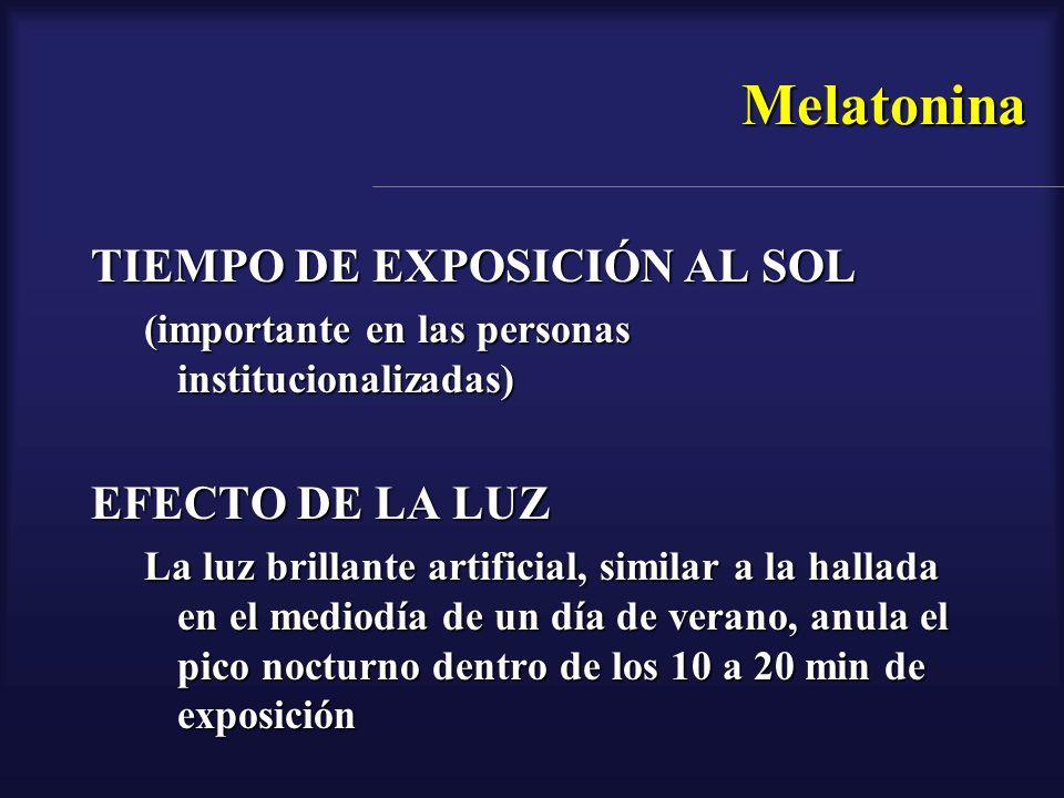 Melatonina TIEMPO DE EXPOSICIÓN AL SOL (importante en las personas institucionalizadas) EFECTO DE LA LUZ La luz brillante artificial, similar a la hal