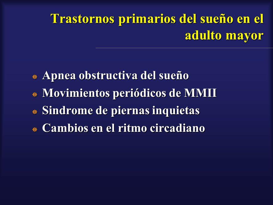 Trastornos primarios del sueño en el adulto mayor Apnea obstructiva del sueño Apnea obstructiva del sueño Movimientos periódicos de MMII Movimientos p