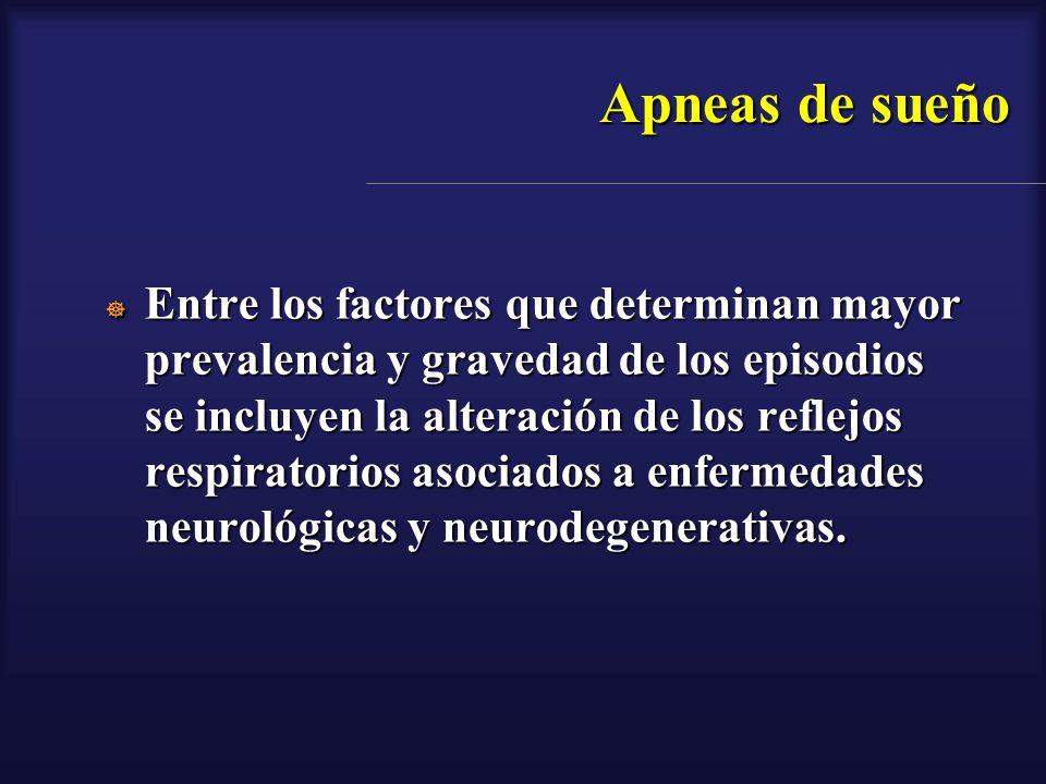 Apneas de sueño Entre los factores que determinan mayor prevalencia y gravedad de los episodios se incluyen la alteración de los reflejos respiratorio