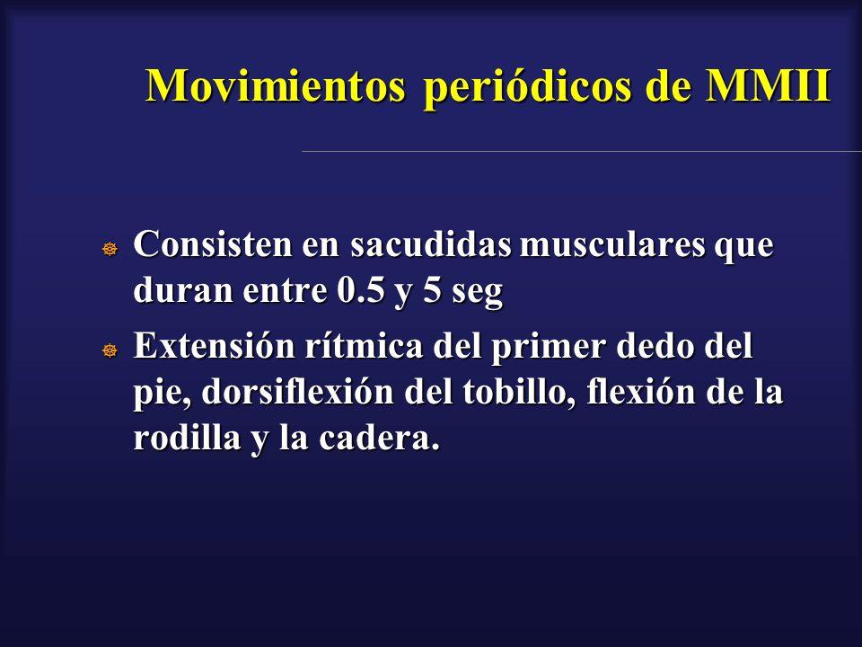 Movimientos periódicos de MMII Consisten en sacudidas musculares que duran entre 0.5 y 5 seg Consisten en sacudidas musculares que duran entre 0.5 y 5