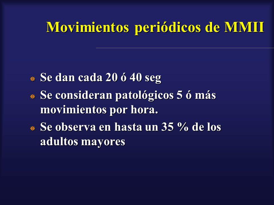 Movimientos periódicos de MMII Se dan cada 20 ó 40 seg Se dan cada 20 ó 40 seg Se consideran patológicos 5 ó más movimientos por hora. Se consideran p