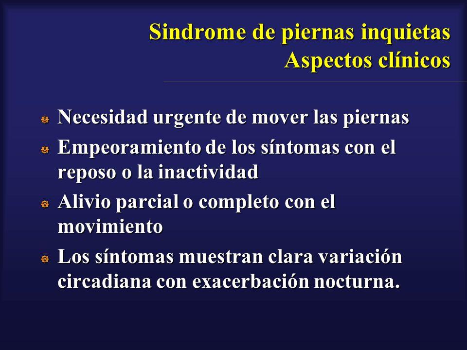Sindrome de piernas inquietas Aspectos clínicos Necesidad urgente de mover las piernas Necesidad urgente de mover las piernas Empeoramiento de los sín