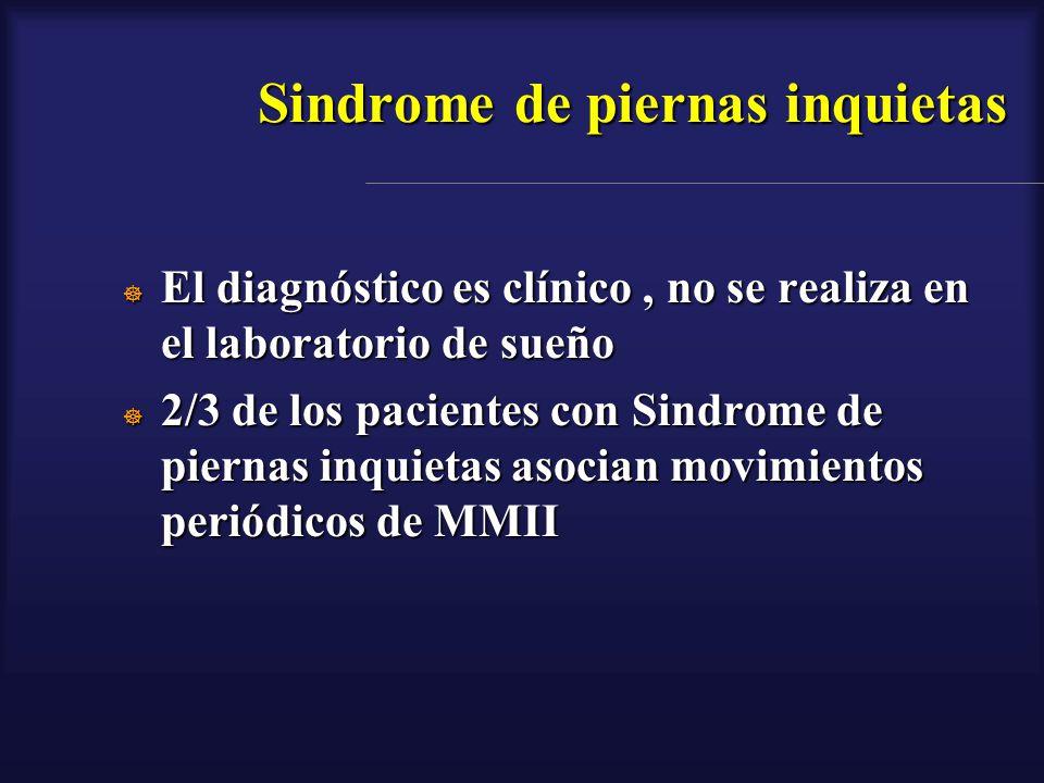 Sindrome de piernas inquietas El diagnóstico es clínico, no se realiza en el laboratorio de sueño El diagnóstico es clínico, no se realiza en el labor