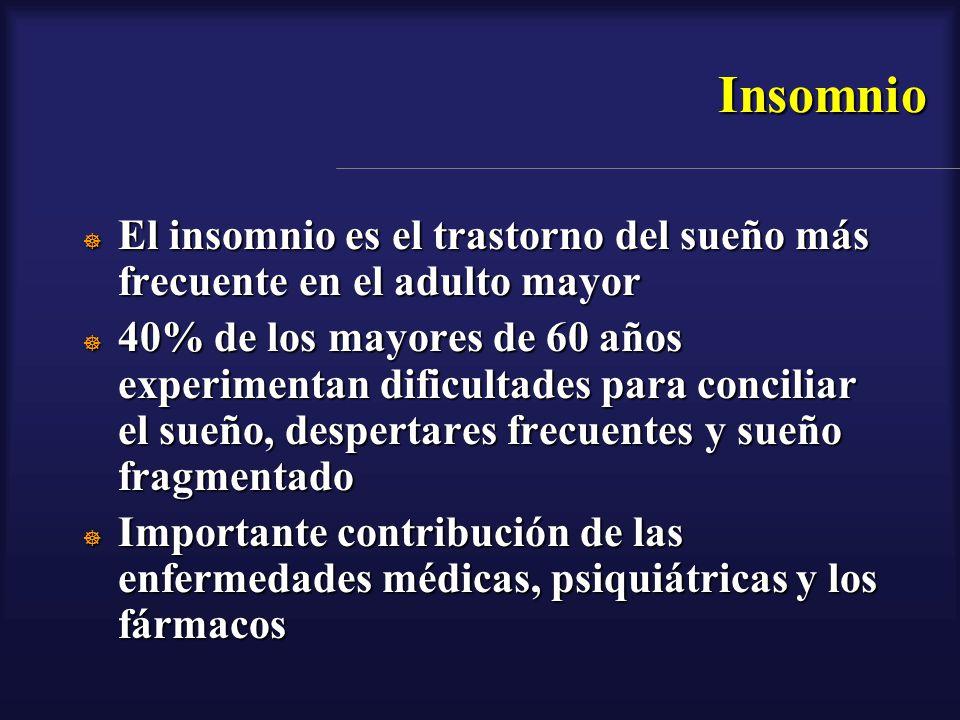 Insomnio El insomnio es el trastorno del sueño más frecuente en el adulto mayor El insomnio es el trastorno del sueño más frecuente en el adulto mayor