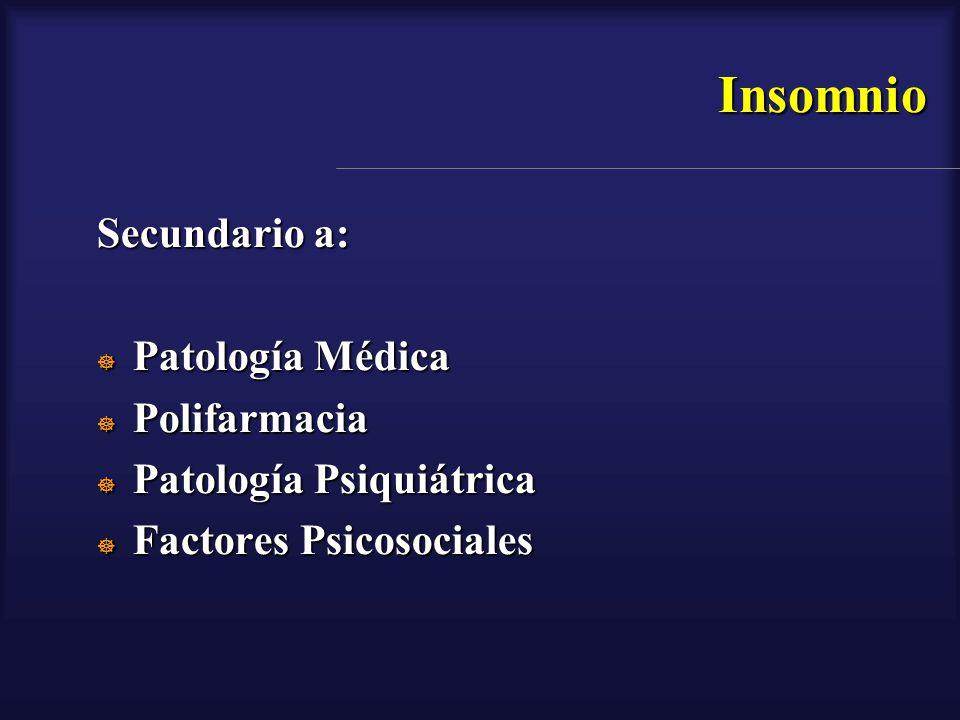 Insomnio Secundario a: Patología Médica Patología Médica Polifarmacia Polifarmacia Patología Psiquiátrica Patología Psiquiátrica Factores Psicosociale