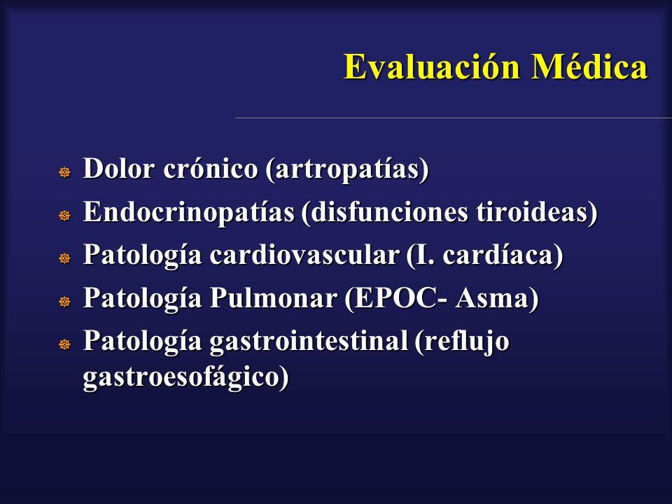 Evaluación Médica Dolor crónico (artropatías) Dolor crónico (artropatías) Endocrinopatías (disfunciones tiroideas) Endocrinopatías (disfunciones tiroi