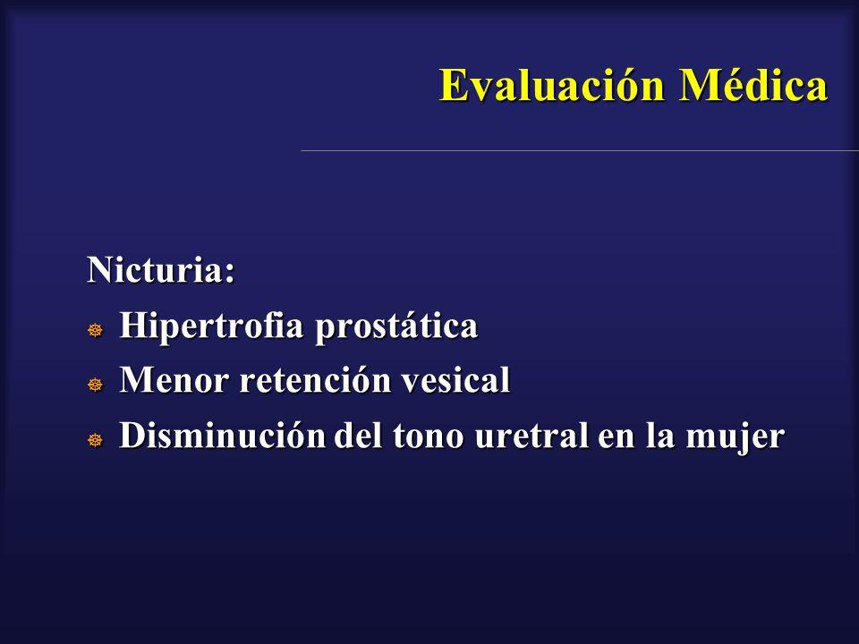 Evaluación Médica Nicturia: Hipertrofia prostática Hipertrofia prostática Menor retención vesical Menor retención vesical Disminución del tono uretral