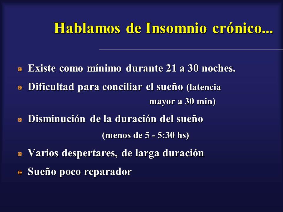 Hablamos de Insomnio crónico... Existe como mínimo durante 21 a 30 noches. Existe como mínimo durante 21 a 30 noches. Dificultad para conciliar el sue
