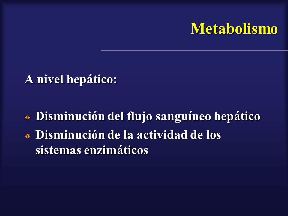 Metabolismo A nivel hepático: Disminución del flujo sanguíneo hepático Disminución del flujo sanguíneo hepático Disminución de la actividad de los sis