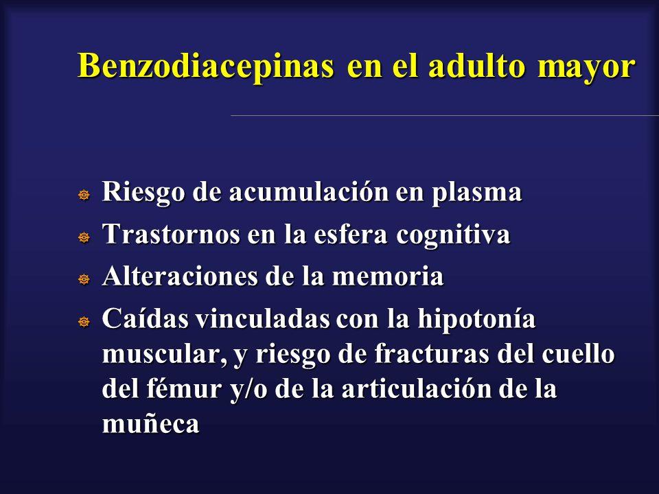 Benzodiacepinas en el adulto mayor Riesgo de acumulación en plasma Riesgo de acumulación en plasma Trastornos en la esfera cognitiva Trastornos en la
