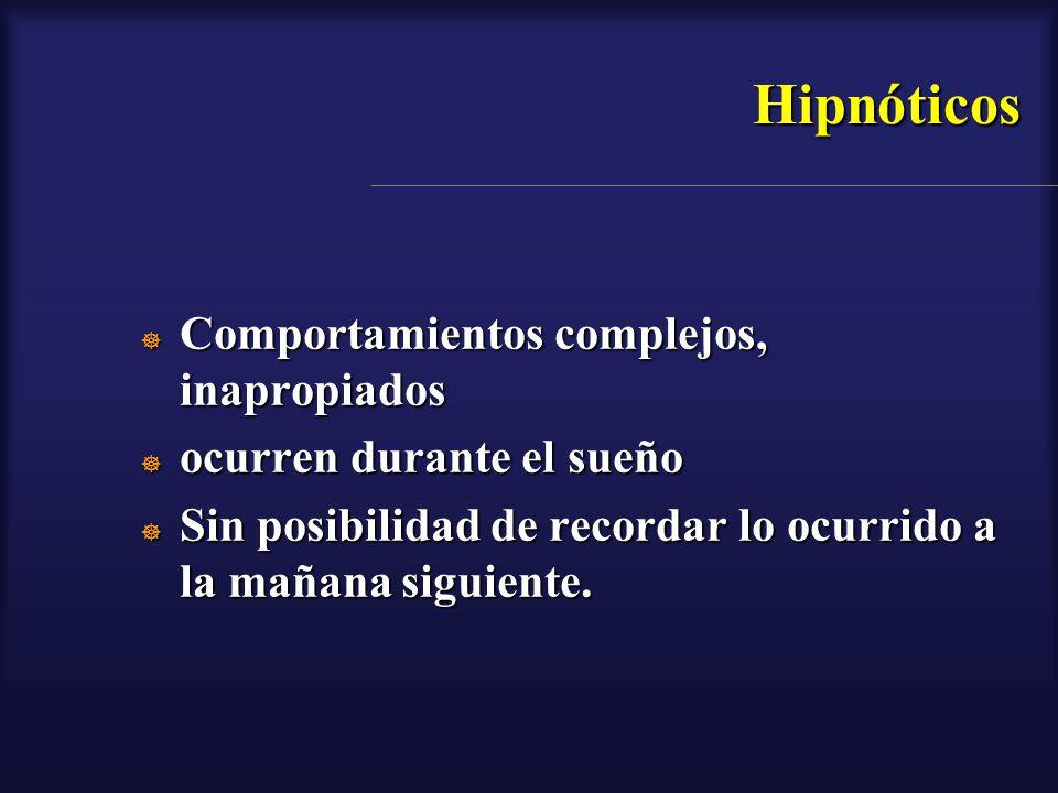 Hipnóticos Comportamientos complejos, inapropiados Comportamientos complejos, inapropiados ocurren durante el sueño ocurren durante el sueño Sin posib