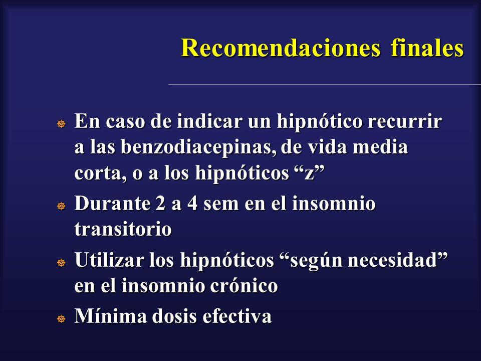 Recomendaciones finales En caso de indicar un hipnótico recurrir a las benzodiacepinas, de vida media corta, o a los hipnóticos z En caso de indicar u