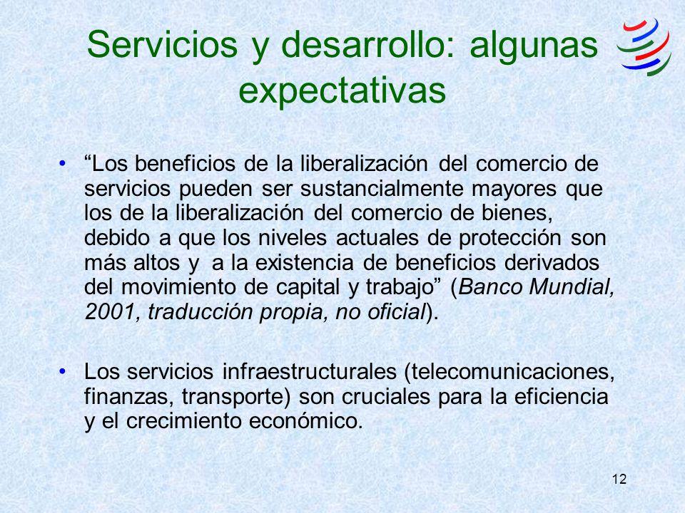 12 Servicios y desarrollo: algunas expectativas Los beneficios de la liberalización del comercio de servicios pueden ser sustancialmente mayores que l
