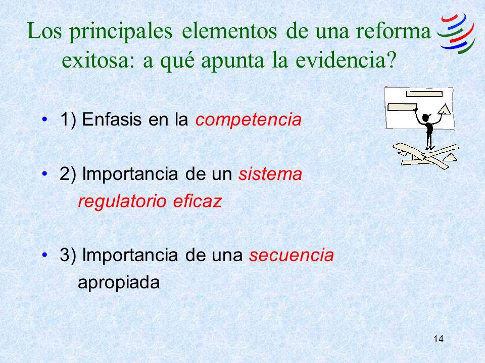 14 Los principales elementos de una reforma exitosa: a qué apunta la evidencia? 1) Enfasis en la competencia 2) Importancia de un sistema regulatorio