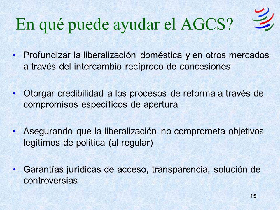 15 En qué puede ayudar el AGCS? Profundizar la liberalización doméstica y en otros mercados a través del intercambio recíproco de concesiones Otorgar