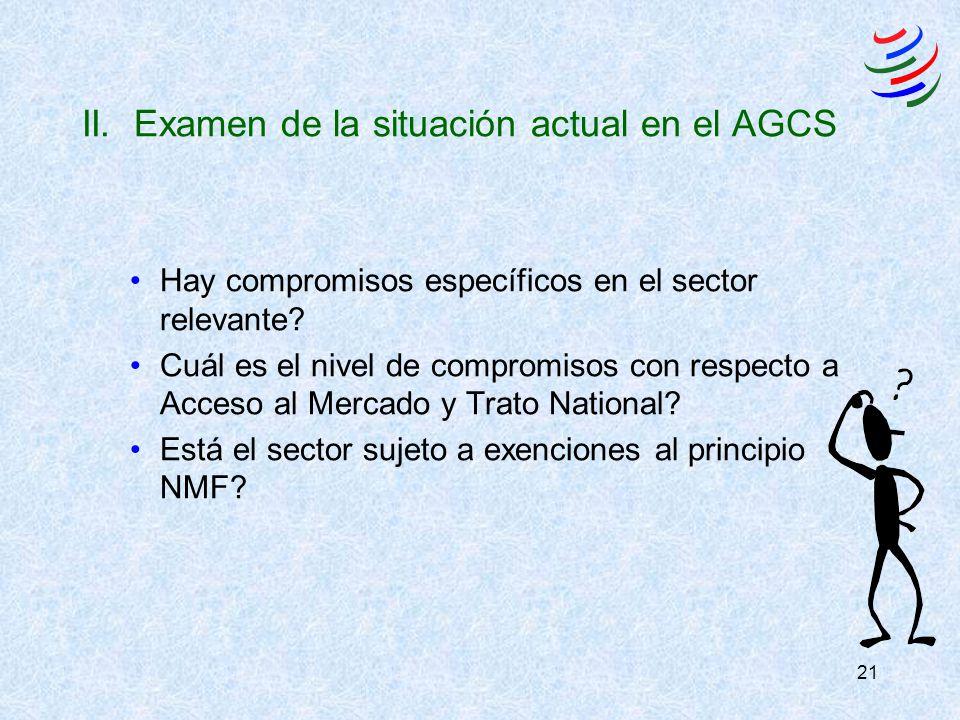 21 II. Examen de la situación actual en el AGCS Hay compromisos específicos en el sector relevante? Cuál es el nivel de compromisos con respecto a Acc
