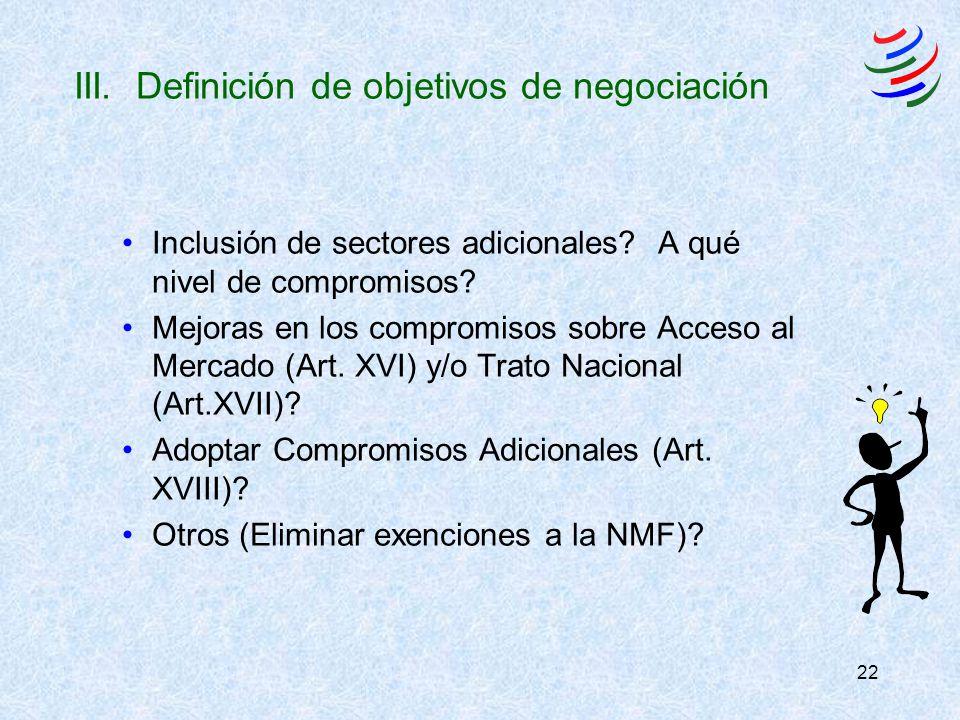 22 III. Definición de objetivos de negociación Inclusión de sectores adicionales? A qué nivel de compromisos? Mejoras en los compromisos sobre Acceso
