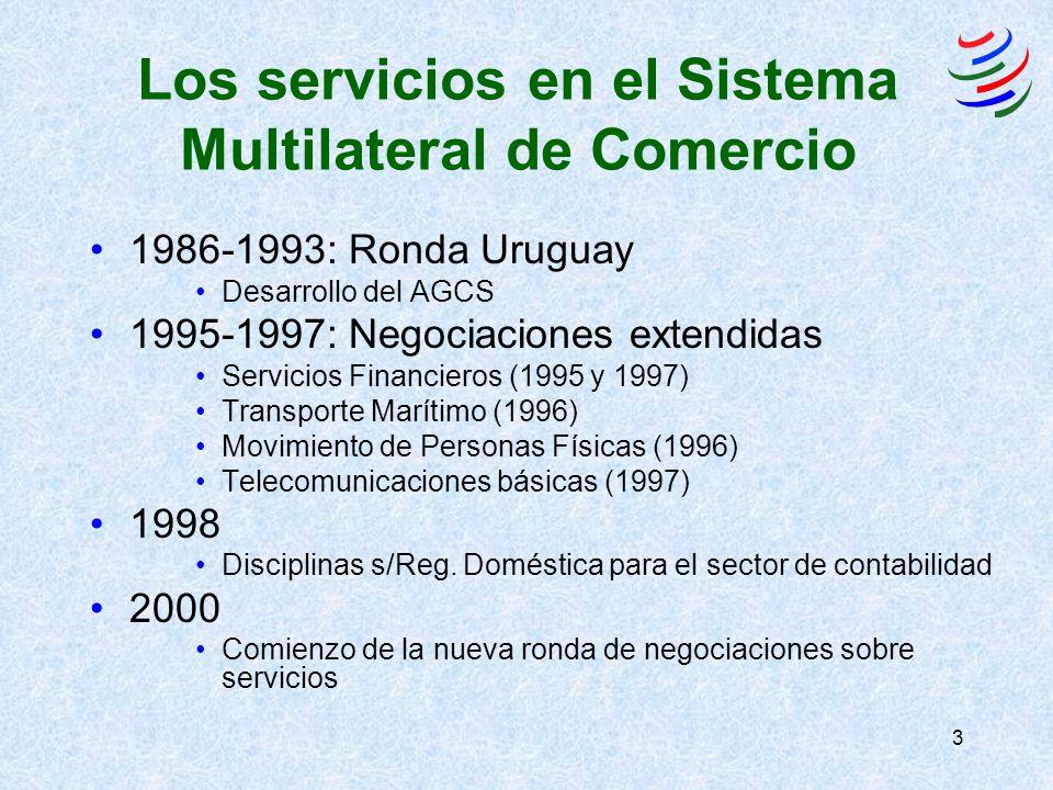 3 Los servicios en el Sistema Multilateral de Comercio 1986-1993: Ronda Uruguay Desarrollo del AGCS 1995-1997: Negociaciones extendidas Servicios Financieros (1995 y 1997) Transporte Marítimo (1996) Movimiento de Personas Físicas (1996) Telecomunicaciones básicas (1997) 1998 Disciplinas s/Reg.