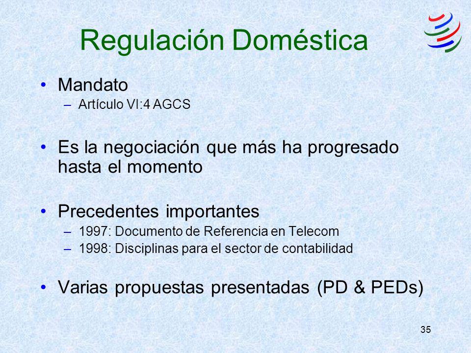 35 Regulación Doméstica Mandato –Artículo VI:4 AGCS Es la negociación que más ha progresado hasta el momento Precedentes importantes –1997: Documento de Referencia en Telecom –1998: Disciplinas para el sector de contabilidad Varias propuestas presentadas (PD & PEDs)