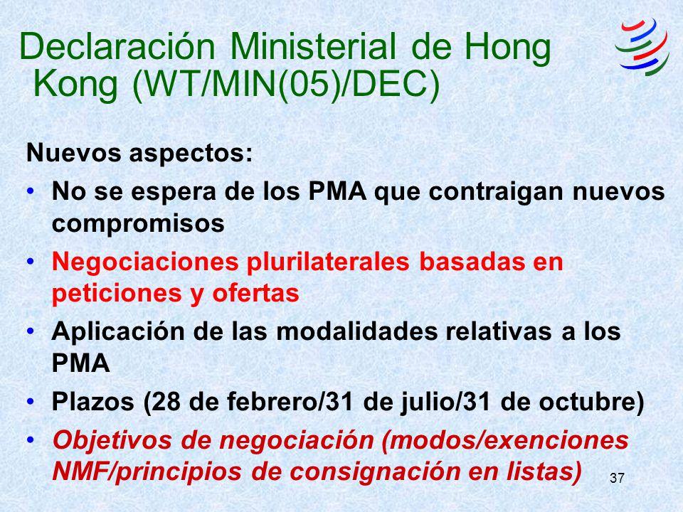 37 Nuevos aspectos: No se espera de los PMA que contraigan nuevos compromisos Negociaciones plurilaterales basadas en peticiones y ofertas Aplicación de las modalidades relativas a los PMA Plazos (28 de febrero/31 de julio/31 de octubre) Objetivos de negociación (modos/exenciones NMF/principios de consignación en listas) Declaración Ministerial de Hong Kong (WT/MIN(05)/DEC)
