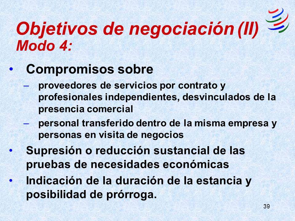 39 Compromisos sobre –proveedores de servicios por contrato y profesionales independientes, desvinculados de la presencia comercial –personal transfer