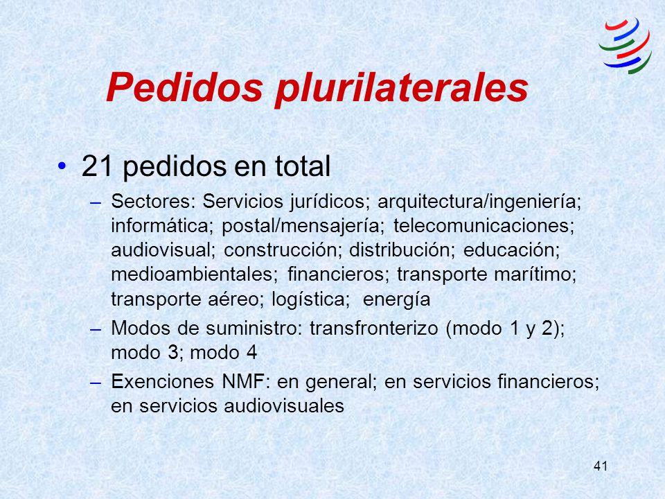 41 Pedidos plurilaterales 21 pedidos en total –Sectores: Servicios jurídicos; arquitectura/ingeniería; informática; postal/mensajería; telecomunicaciones; audiovisual; construcción; distribución; educación; medioambientales; financieros; transporte marítimo; transporte aéreo; logística; energía –Modos de suministro: transfronterizo (modo 1 y 2); modo 3; modo 4 –Exenciones NMF: en general; en servicios financieros; en servicios audiovisuales