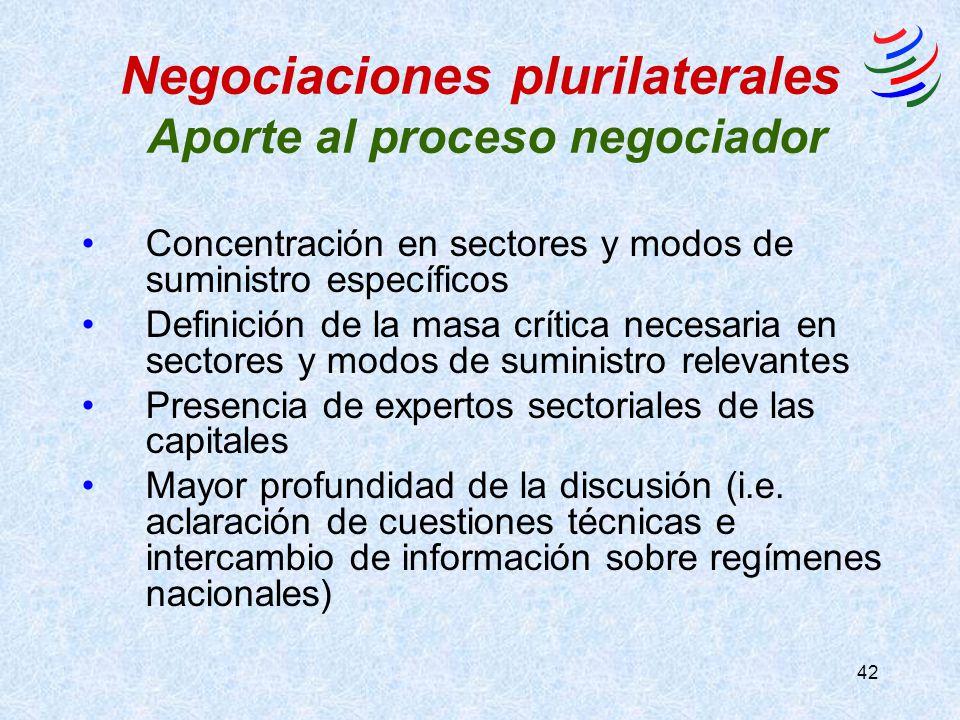 42 Negociaciones plurilaterales Aporte al proceso negociador Concentración en sectores y modos de suministro específicos Definición de la masa crítica necesaria en sectores y modos de suministro relevantes Presencia de expertos sectoriales de las capitales Mayor profundidad de la discusión (i.e.