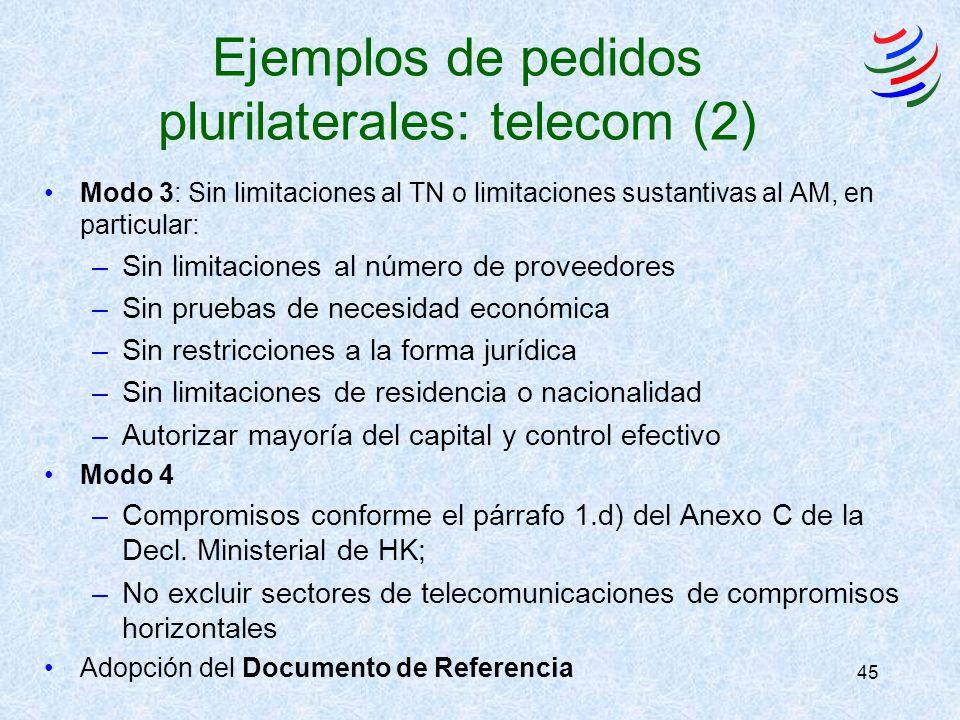 45 Ejemplos de pedidos plurilaterales: telecom (2) Modo 3: Sin limitaciones al TN o limitaciones sustantivas al AM, en particular: –Sin limitaciones a