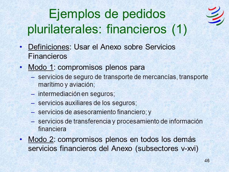 46 Ejemplos de pedidos plurilaterales: financieros (1) Definiciones: Usar el Anexo sobre Servicios Financieros Modo 1: compromisos plenos para –servicios de seguro de transporte de mercancías, transporte marítimo y aviación; –intermediación en seguros; –servicios auxiliares de los seguros; –servicios de asesoramiento financiero; y –servicios de transferencia y procesamiento de información financiera Modo 2: compromisos plenos en todos los demás servicios financieros del Anexo (subsectores v-xvi)