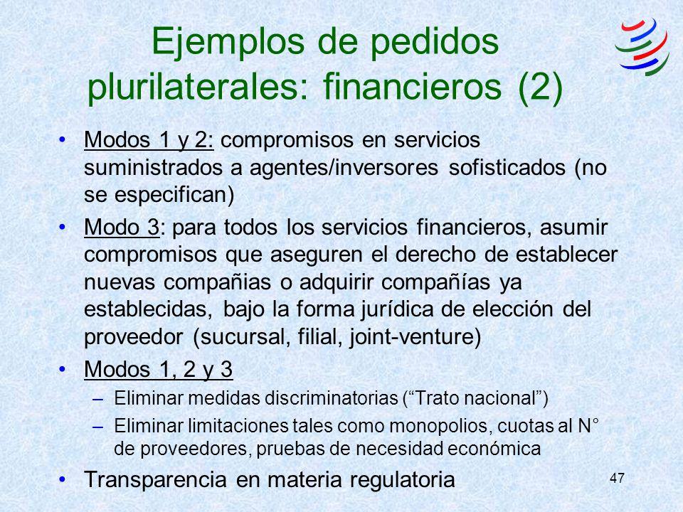 47 Ejemplos de pedidos plurilaterales: financieros (2) Modos 1 y 2: compromisos en servicios suministrados a agentes/inversores sofisticados (no se especifican) Modo 3: para todos los servicios financieros, asumir compromisos que aseguren el derecho de establecer nuevas compañias o adquirir compañías ya establecidas, bajo la forma jurídica de elección del proveedor (sucursal, filial, joint-venture) Modos 1, 2 y 3 –Eliminar medidas discriminatorias (Trato nacional) –Eliminar limitaciones tales como monopolios, cuotas al N° de proveedores, pruebas de necesidad económica Transparencia en materia regulatoria