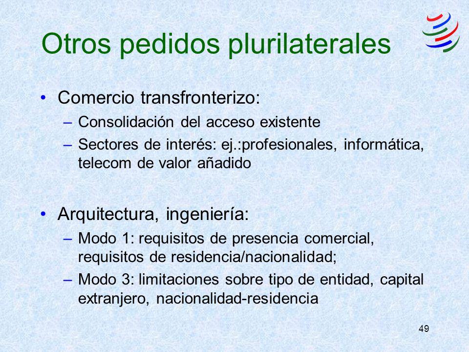 49 Otros pedidos plurilaterales Comercio transfronterizo: –Consolidación del acceso existente –Sectores de interés: ej.:profesionales, informática, te