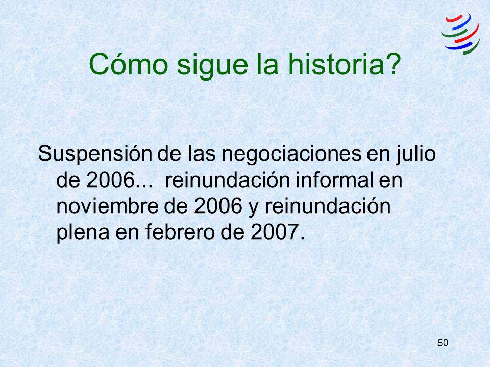 50 Cómo sigue la historia? Suspensión de las negociaciones en julio de 2006... reinundación informal en noviembre de 2006 y reinundación plena en febr