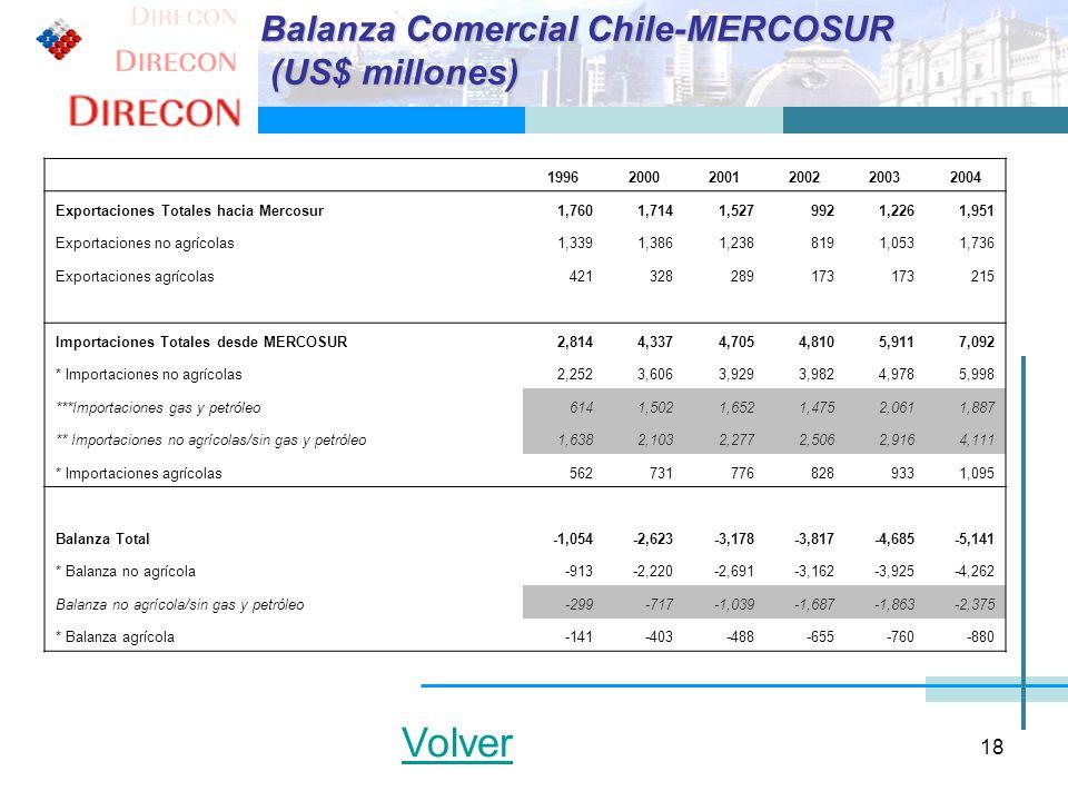 18 199620002001200220032004 Exportaciones Totales hacia Mercosur1,7601,7141,5279921,2261,951 Exportaciones no agrícolas1,3391,3861,2388191,0531,736 Ex