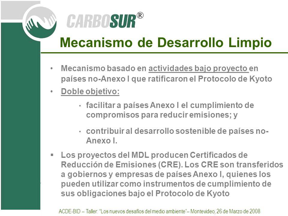 ® Mecanismo de Desarrollo Limpio Mecanismo basado en actividades bajo proyecto en países no-Anexo I que ratificaron el Protocolo de Kyoto Doble objeti