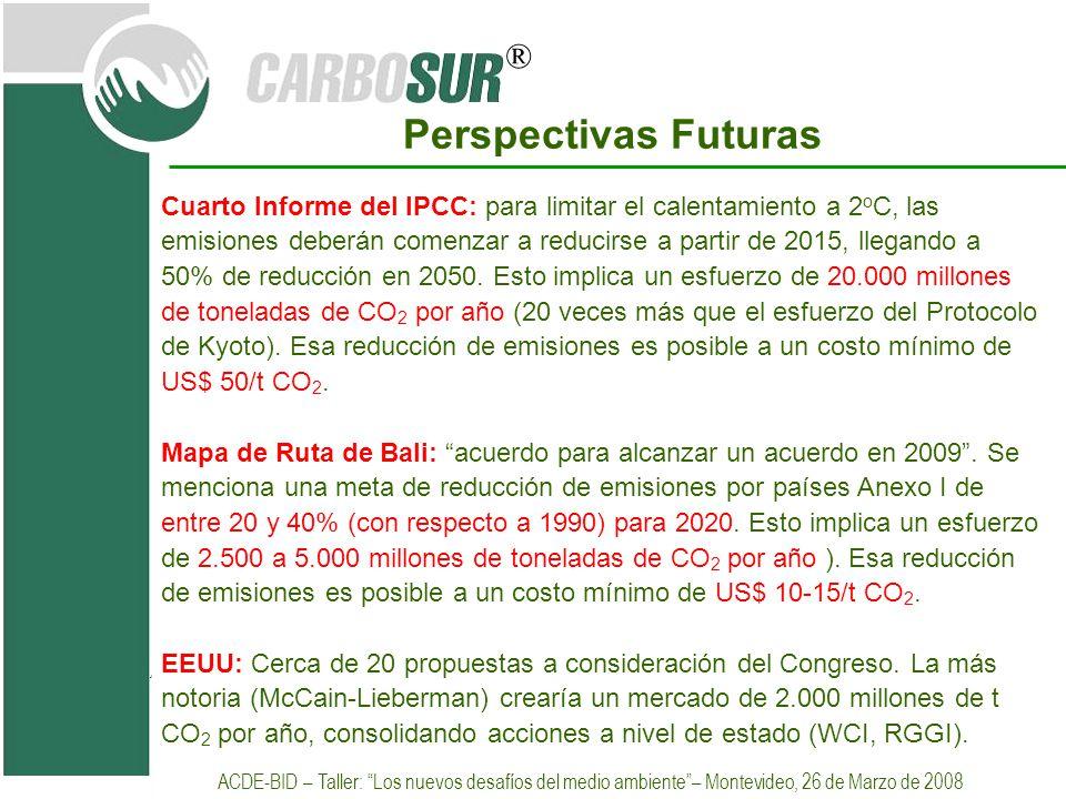 ® Perspectivas Futuras Cuarto Informe del IPCC: para limitar el calentamiento a 2 o C, las emisiones deberán comenzar a reducirse a partir de 2015, ll