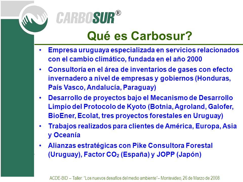 ® Qué es Carbosur? Empresa uruguaya especializada en servicios relacionados con el cambio climático, fundada en el año 2000 Consultoría en el área de