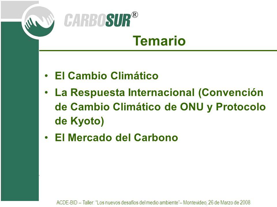 ® Temario El Cambio Climático La Respuesta Internacional (Convención de Cambio Climático de ONU y Protocolo de Kyoto) El Mercado del Carbono ACDE-BID