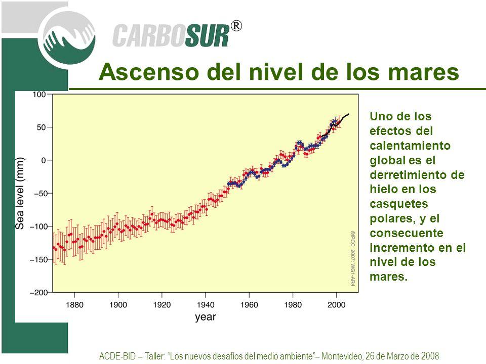 ® Ascenso del nivel de los mares Uno de los efectos del calentamiento global es el derretimiento de hielo en los casquetes polares, y el consecuente i