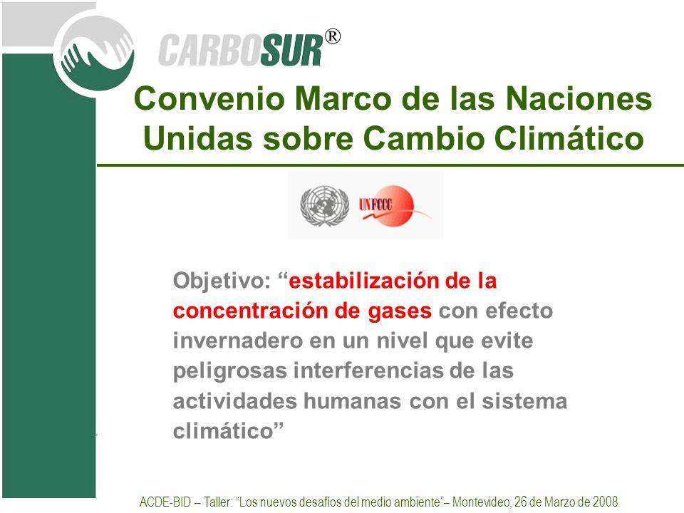 ® Convenio Marco de las Naciones Unidas sobre Cambio Climático Objetivo: estabilización de la concentración de gases con efecto invernadero en un nive
